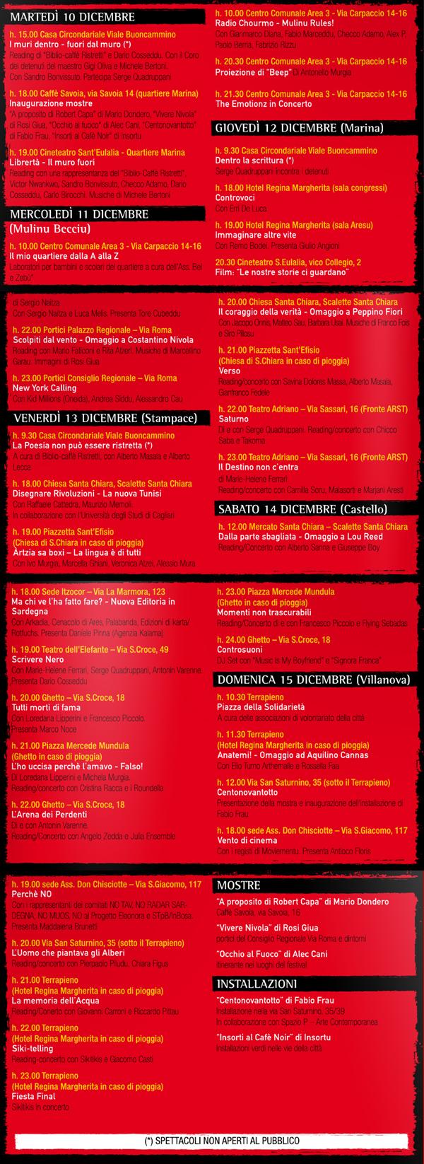 Marina Cafè Noir 2013 - Il programma CLICCA PER INGRANDIRE